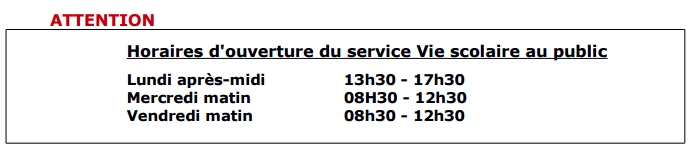 horaires services