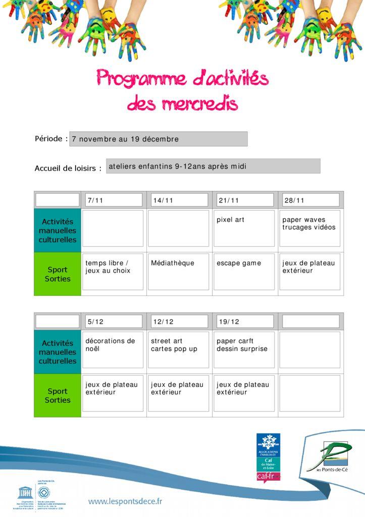 thumbnail of planning mercredis nov dec 2018 9-12 ans