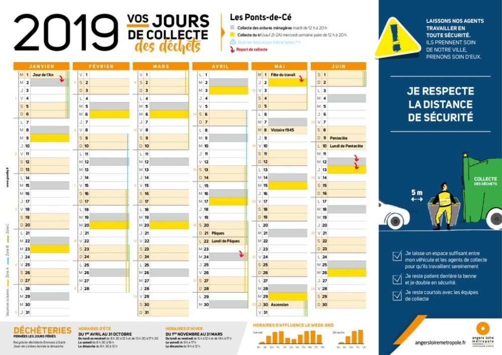 Calendrier Paques 2019.Calendrier Des Jours De Ramassage 2019 Ville Des Ponts De Ce