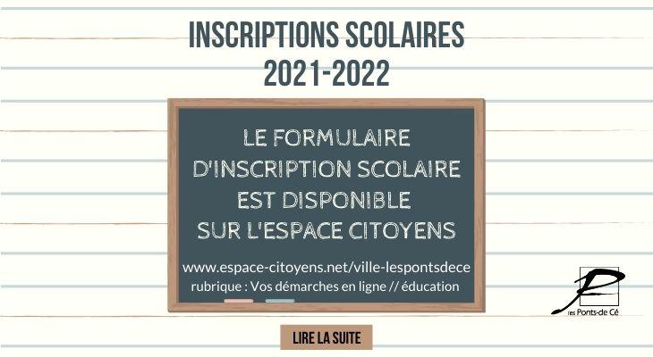 Première inscription scolaire rentrée 2021/2022